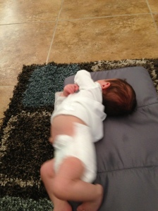 4. Baby peed in the process so change his diaper again