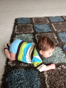 It appears that my genius child is on the fast track to crawling.  I believe that my days of setting him down and walking away are now numbered
