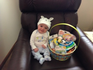My little Easter bunny with his little Easter basket