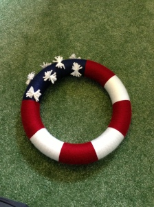 4th of July wreath for the front door (made of yarn)