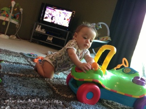 Lucas started pulling himself up.  He's done it on my diaper bag, the couch, and now he's starting to learn how to on his toy.  He's going to skip walking and just go straight into running I think...