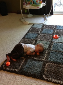 Fell asleep crawling across the room