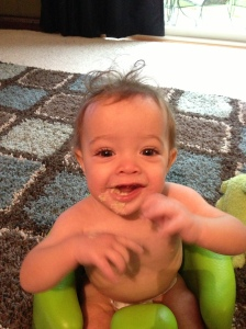 more morning oatmeal.  What a happy baby!!