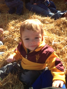 Yesterday i took Lucas on a hay ride and to apple pick at the orchard by our house.  He was totally digging the whole thing