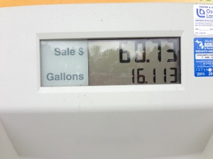 ...And that's how I learned that my new car has a 16 gallon tank.